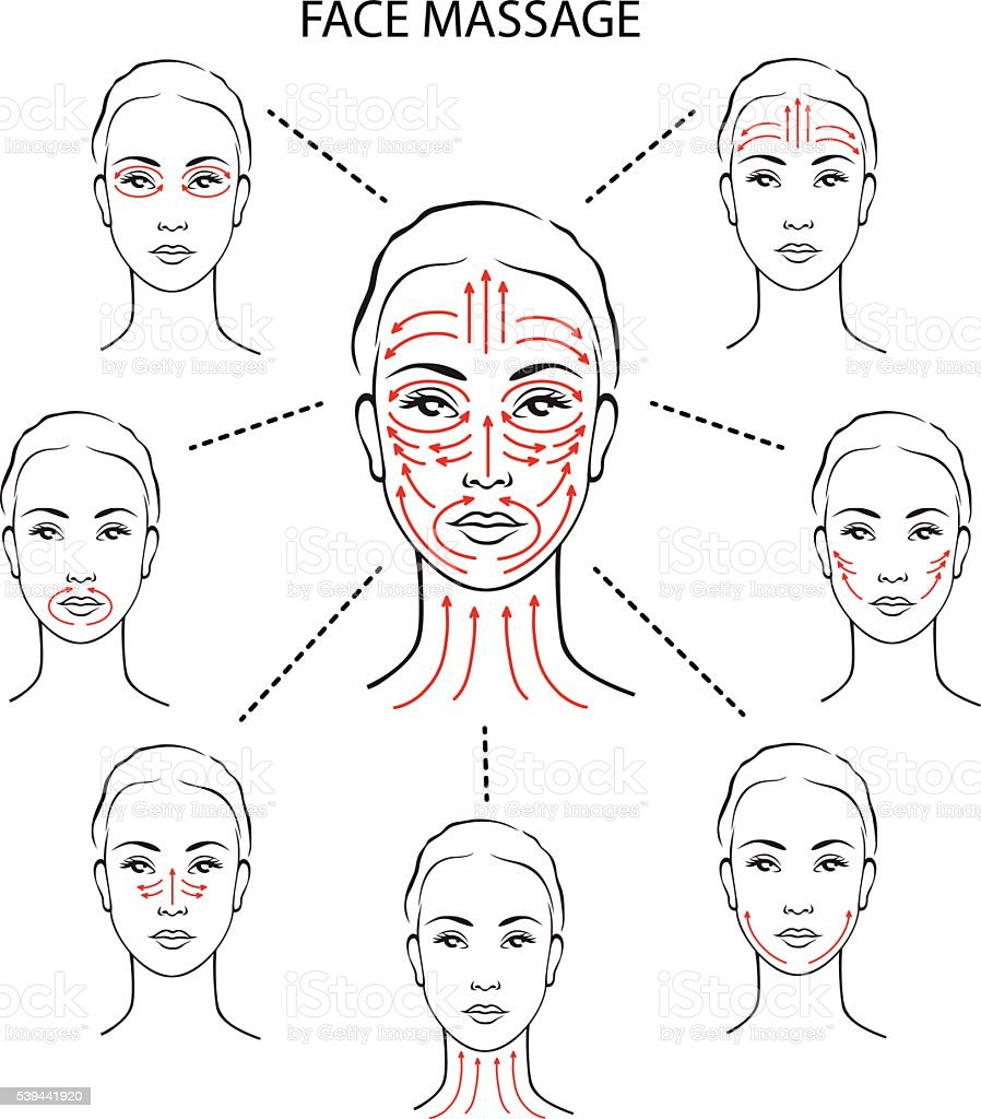 Set of face massage instructions vector art illustration
