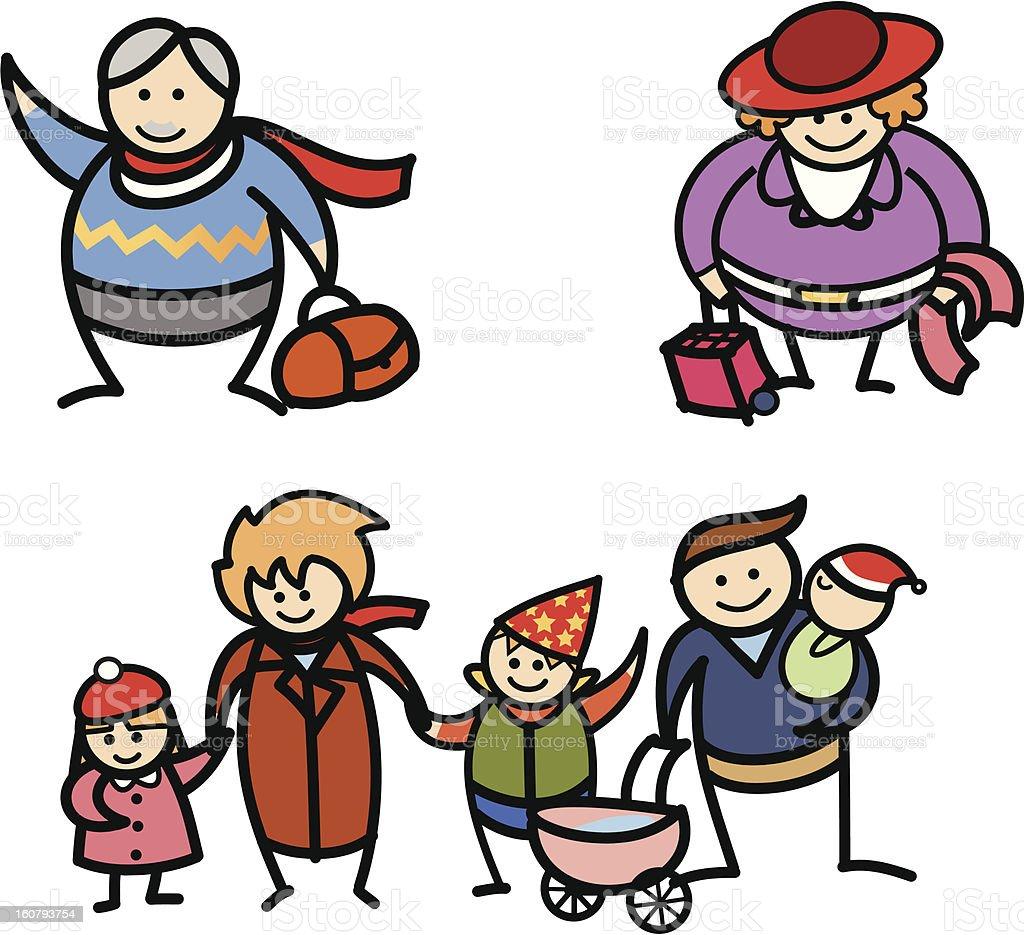 set of family holiday winter royalty-free stock vector art