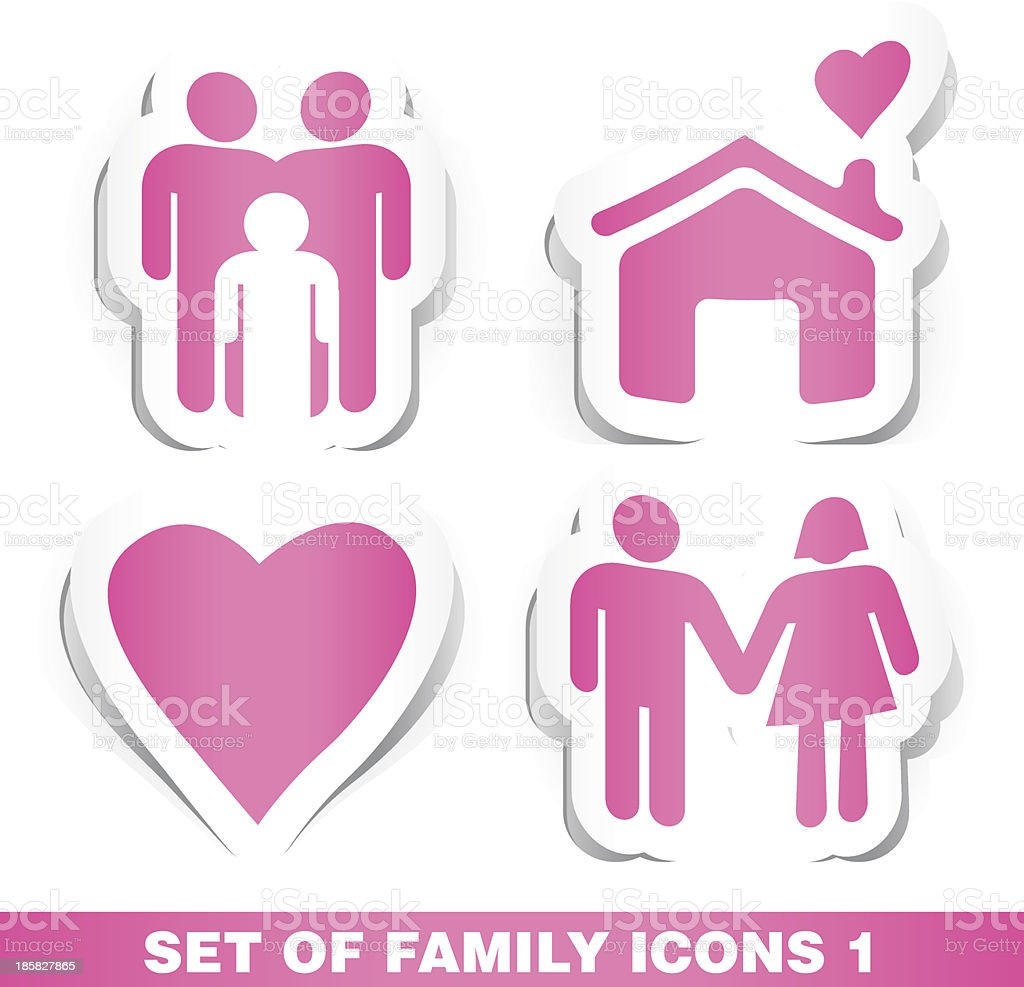 Set of Family Paper Icons 1. royalty-free stock vector art