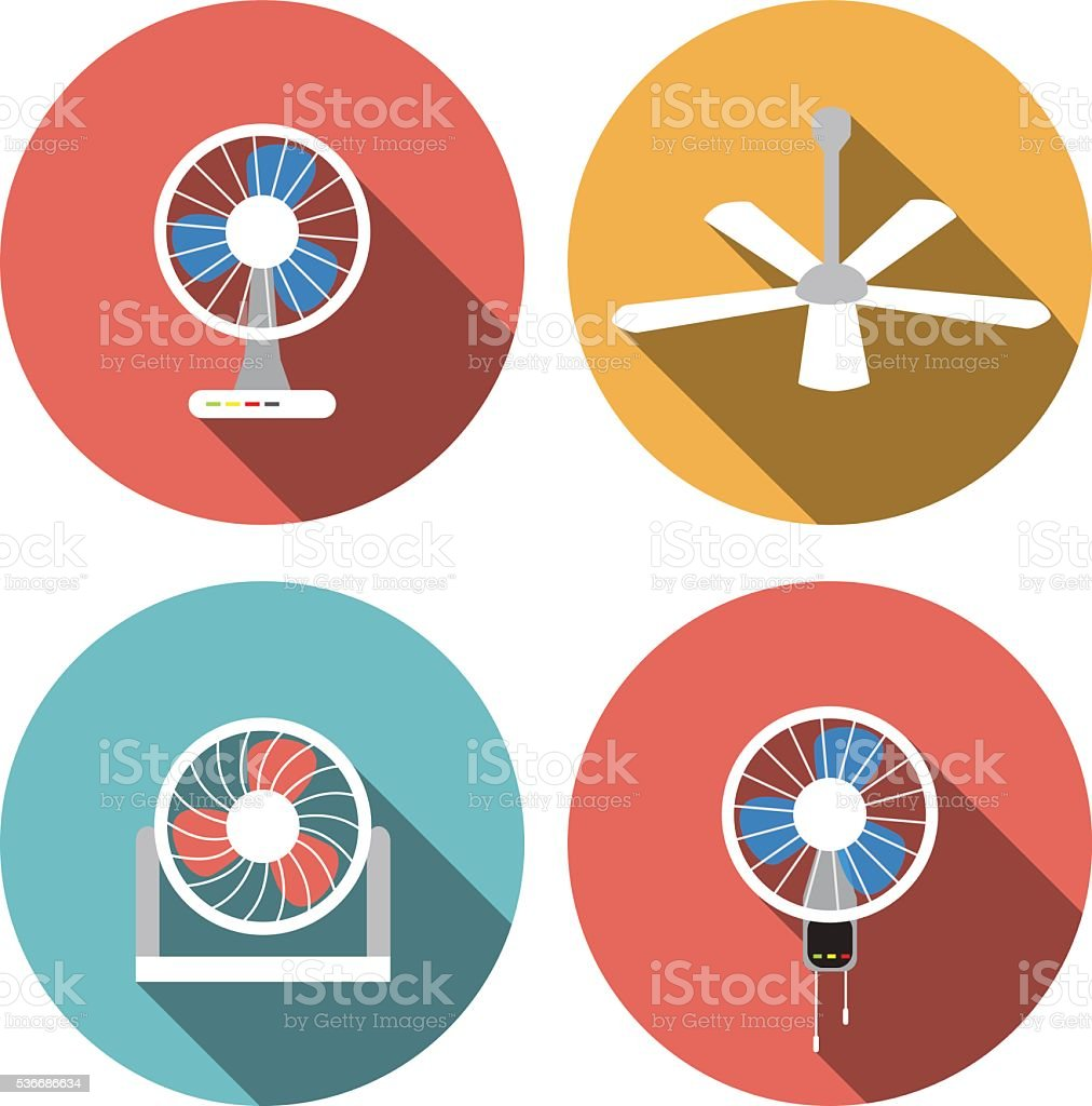 Set of fan icons in flat style, vector object vector art illustration