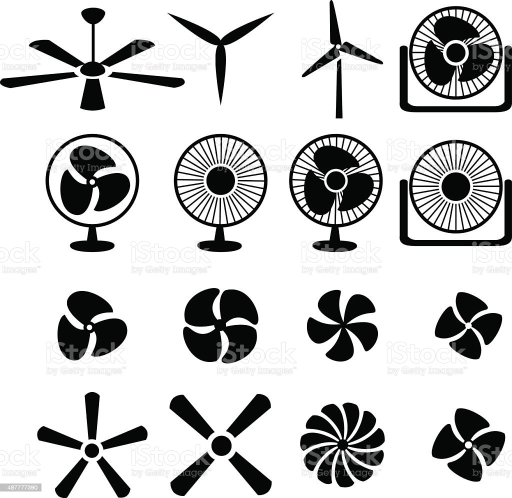 Set of fans and propellers icons vector art illustration
