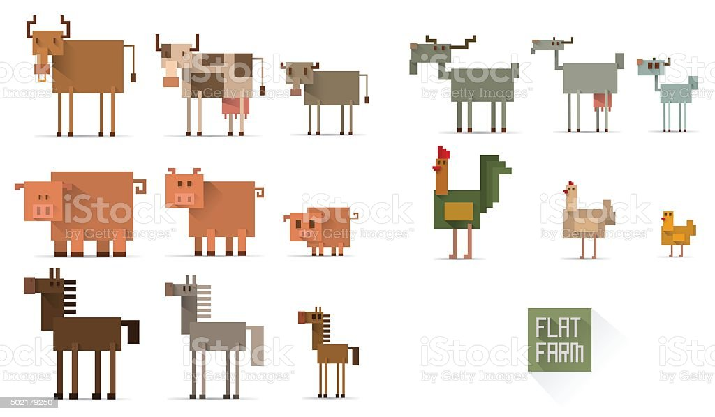 Set of farm animals in flat style vector art illustration