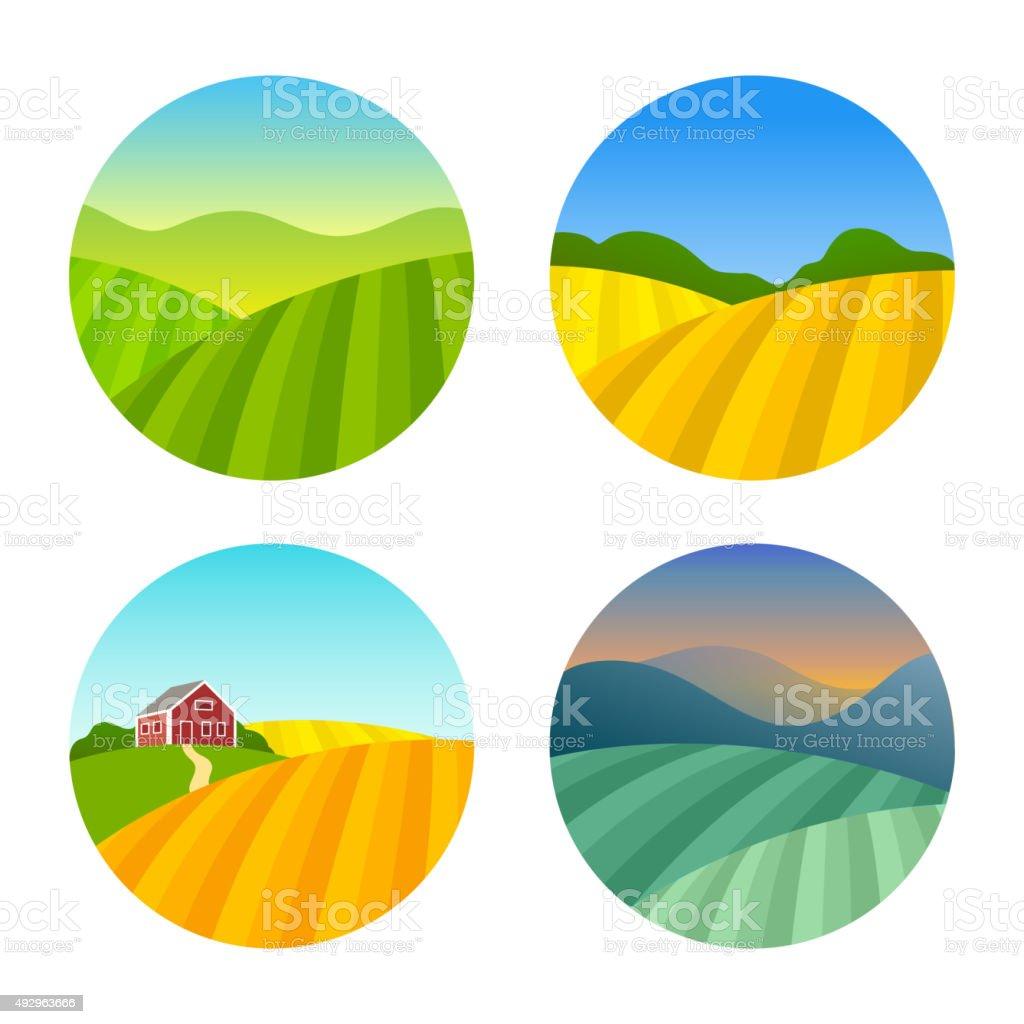 Set of Farm Fields Landscapes vector art illustration
