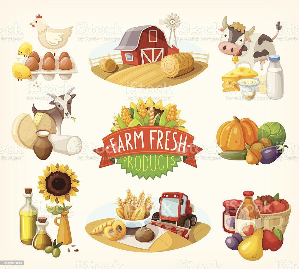 Set of farm fresh illustrations vector art illustration