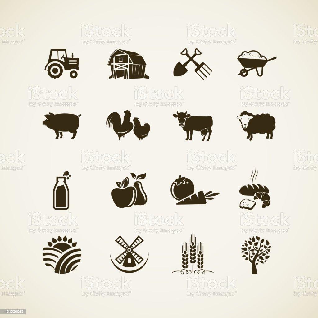 Set of farm icons vector art illustration