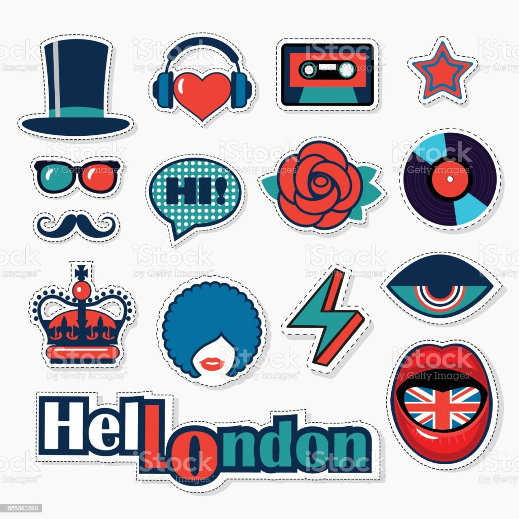 set of fashion british patches, stickers and pins vector art illustration
