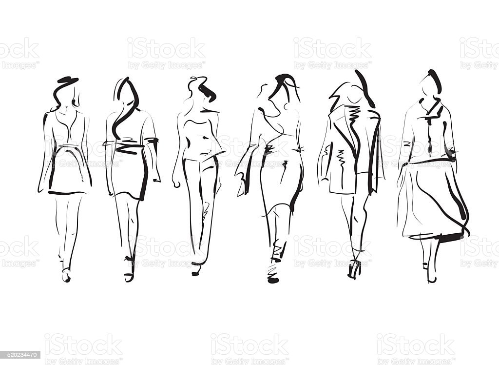 Set of fashion models sketch, vector illustration vector art illustration