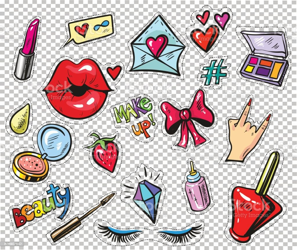 Set of fashion stickers, pins, patches in cartoon 80s-90s comic style. pop art vector art illustration