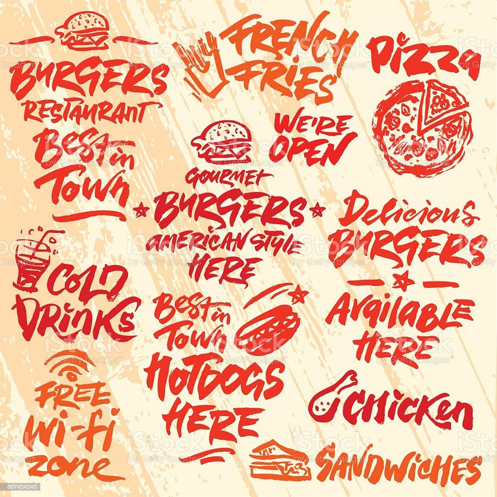 Set of Fast Food Calligraphic Labels vector art illustration