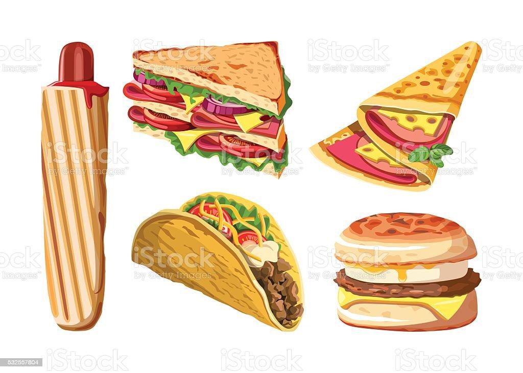 Set of fast food: hotdog, club sandwich vector art illustration