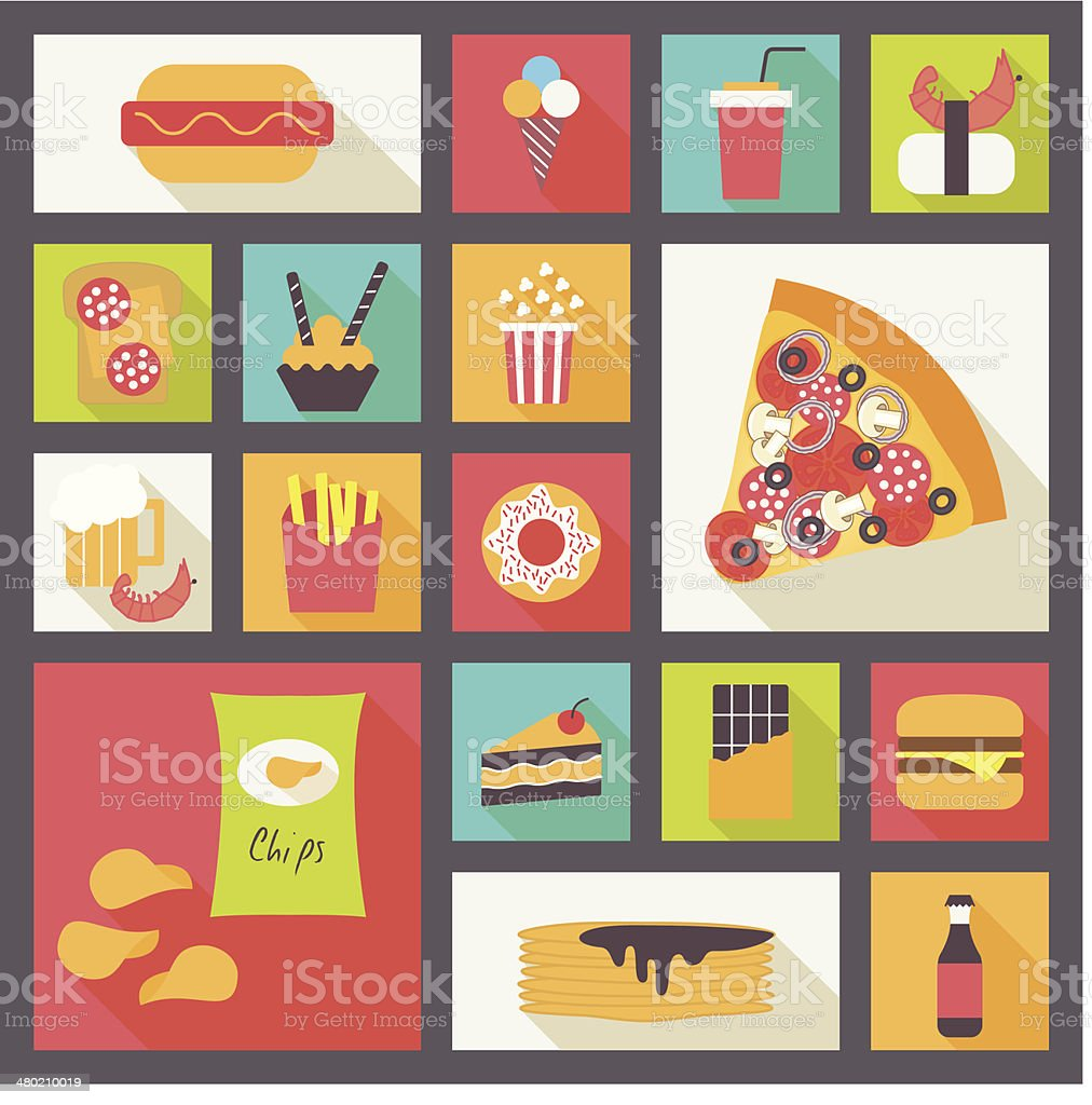 Set of fast food, snacks, flat design icons collection vector art illustration