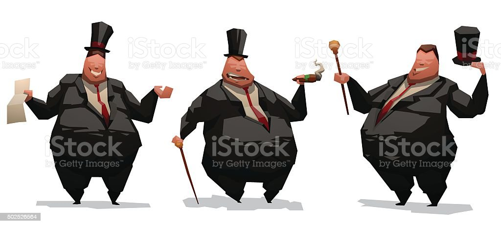 Set of fat businessmen vector art illustration