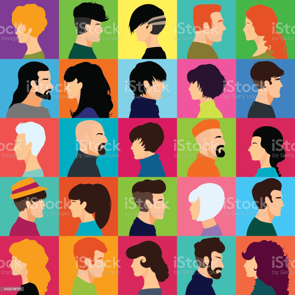 Set of female and male heads. vector art illustration