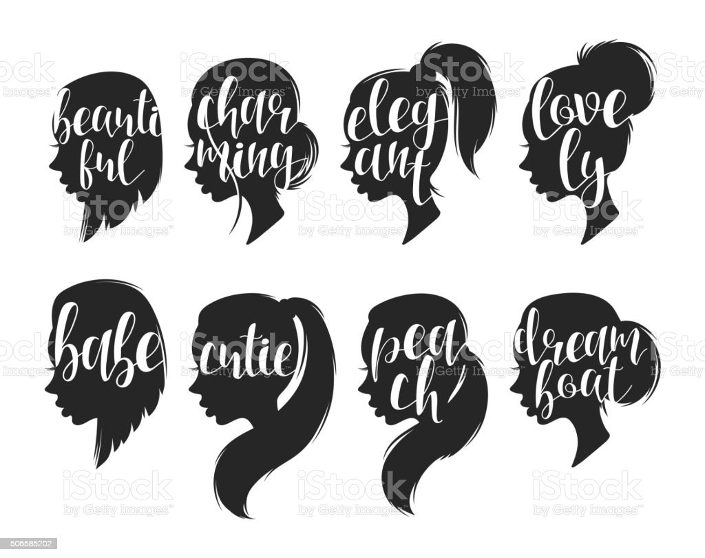 Set of female elegant silhouettes with different hairstyles and calligraphy vector art illustration