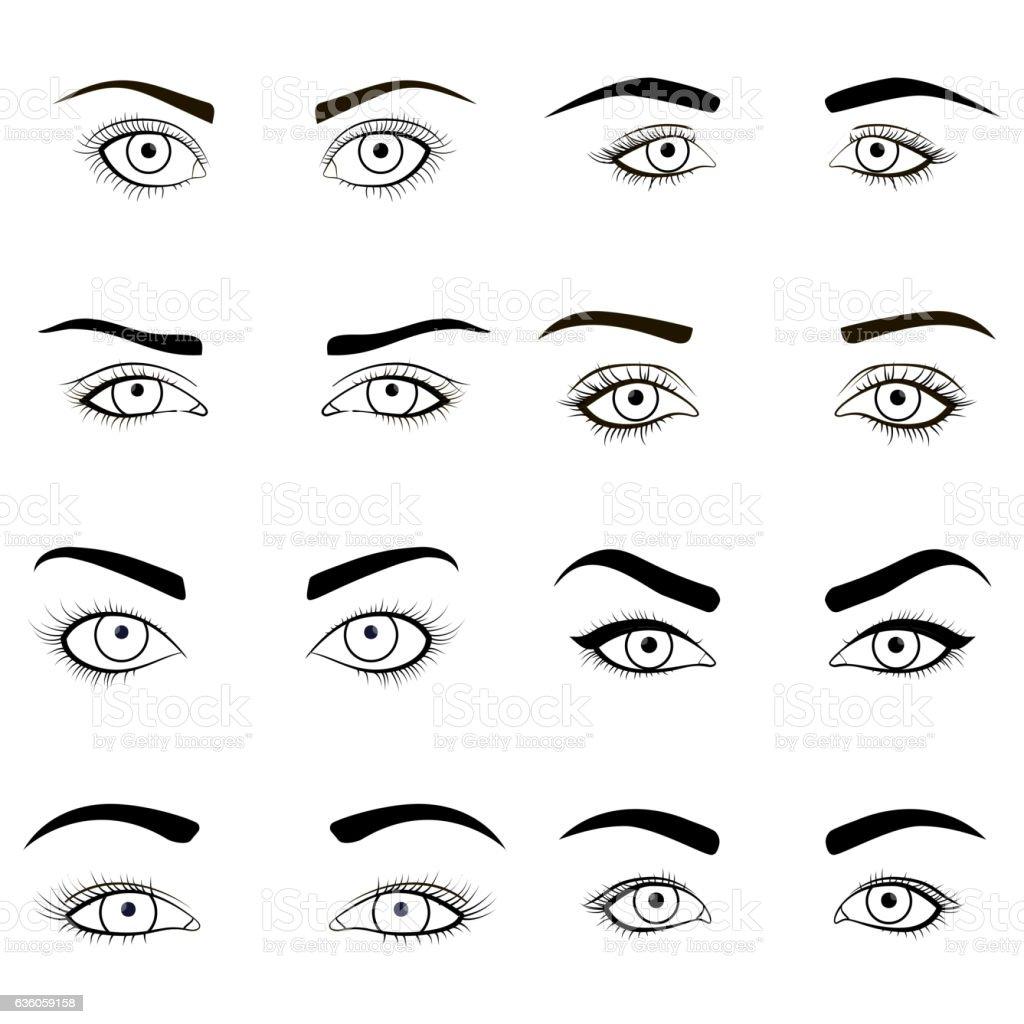 Set of female eyes and brows black image . Vector illustration vector art illustration
