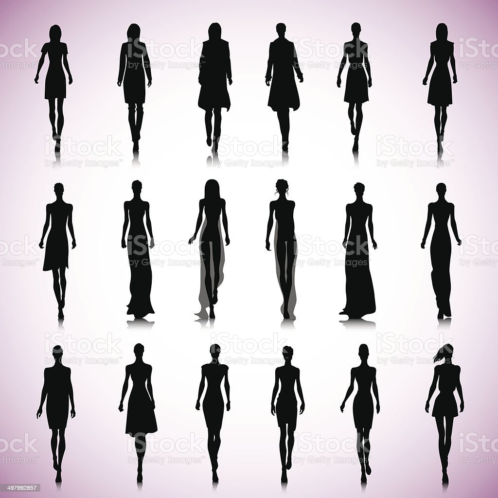 Set of female fashion silhouettes vector art illustration