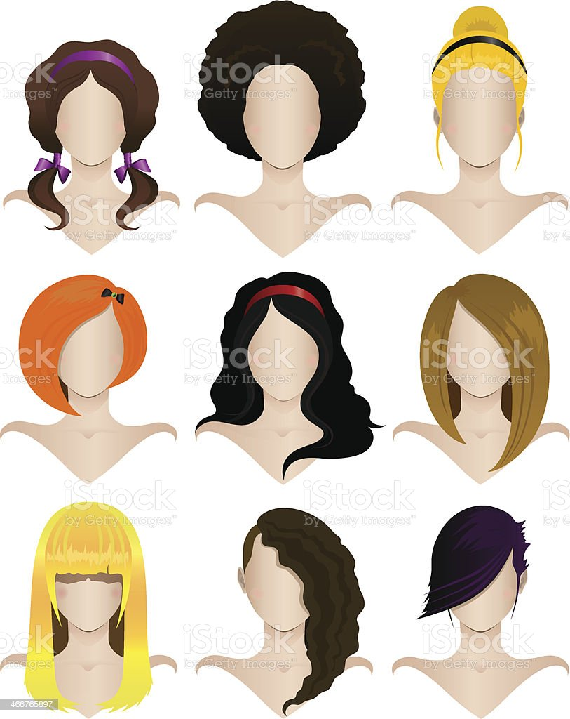 Set of female hairstyles vector art illustration