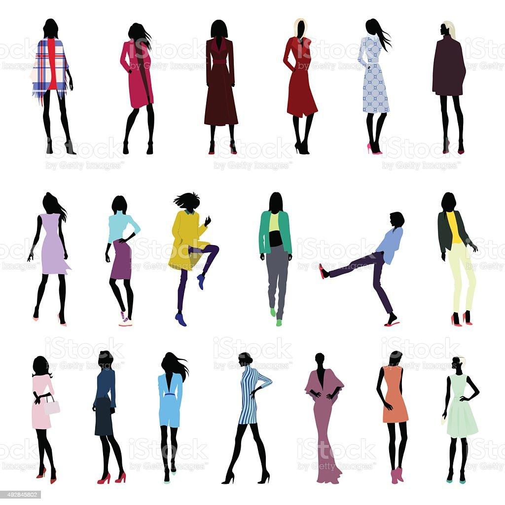 Set of female poses vector art illustration