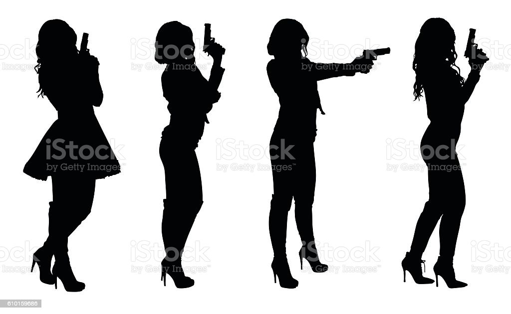 Set of female spy in different clothes with gun vector art illustration