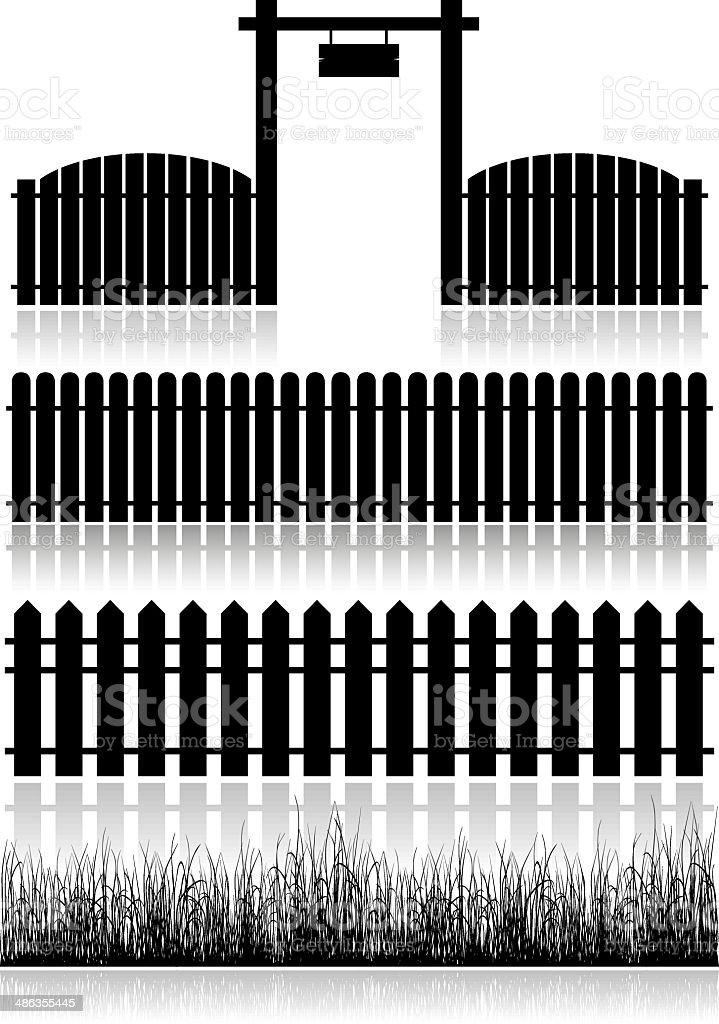 Set Of Fences, Gate And Grass vector art illustration