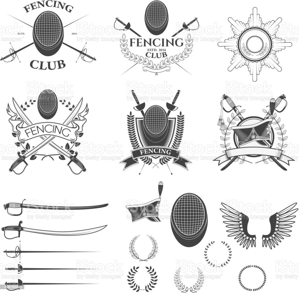 Set of fencing club labels vector art illustration