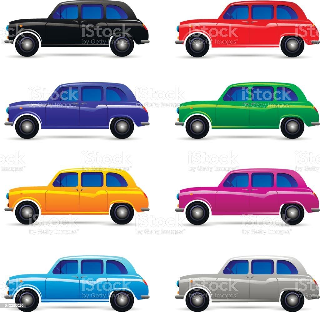 Set of festive cars vector art illustration