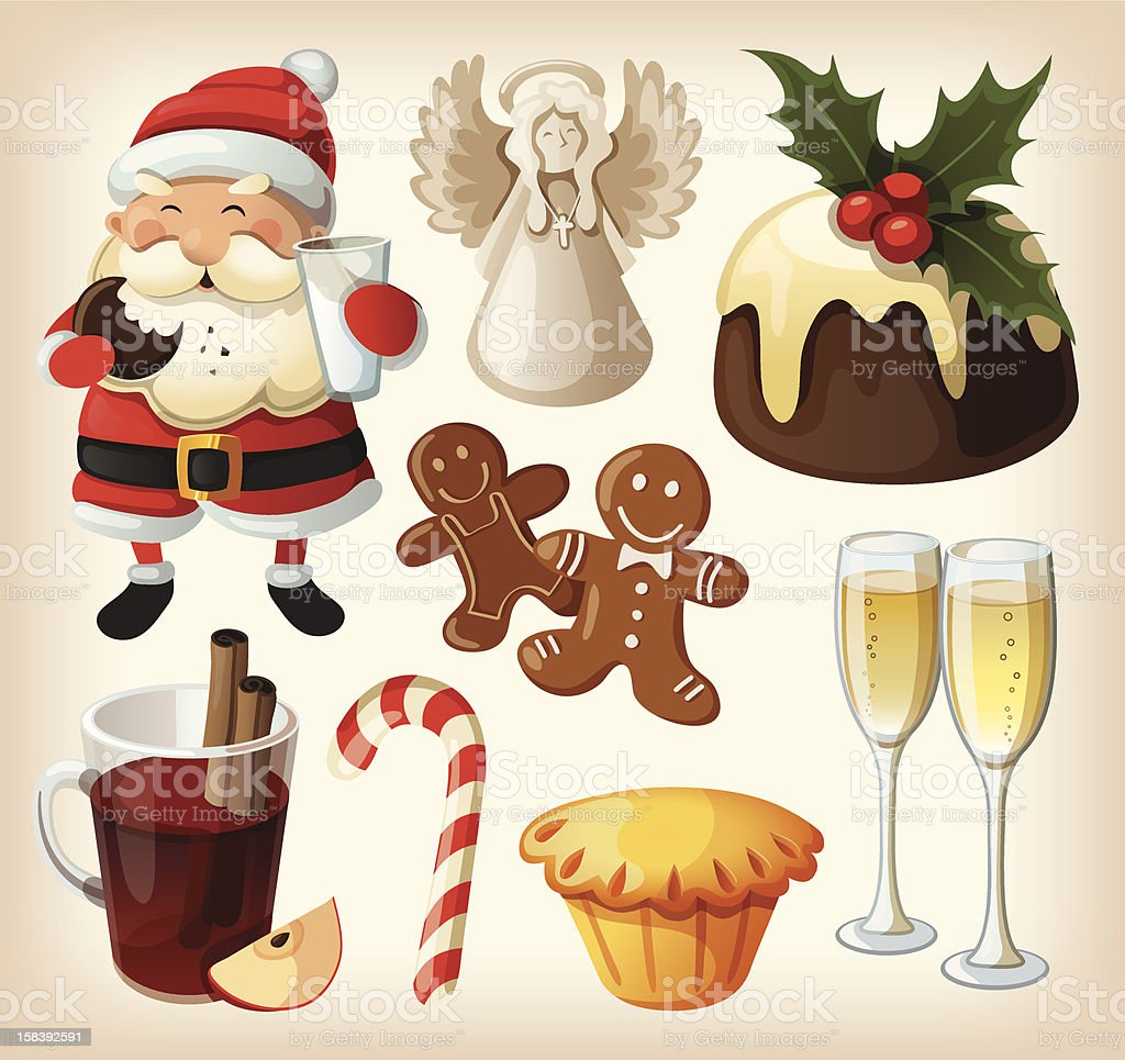 Set of festive food and decorations for christmas table vector art illustration