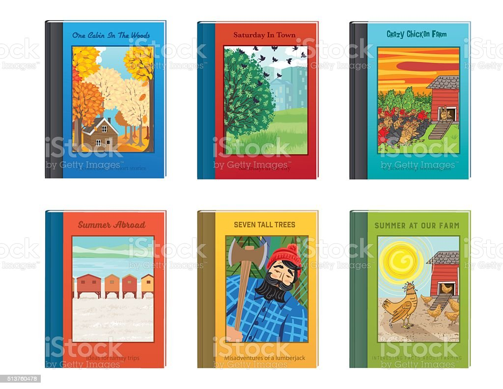 Set Of Fictional Childrens Books vector art illustration