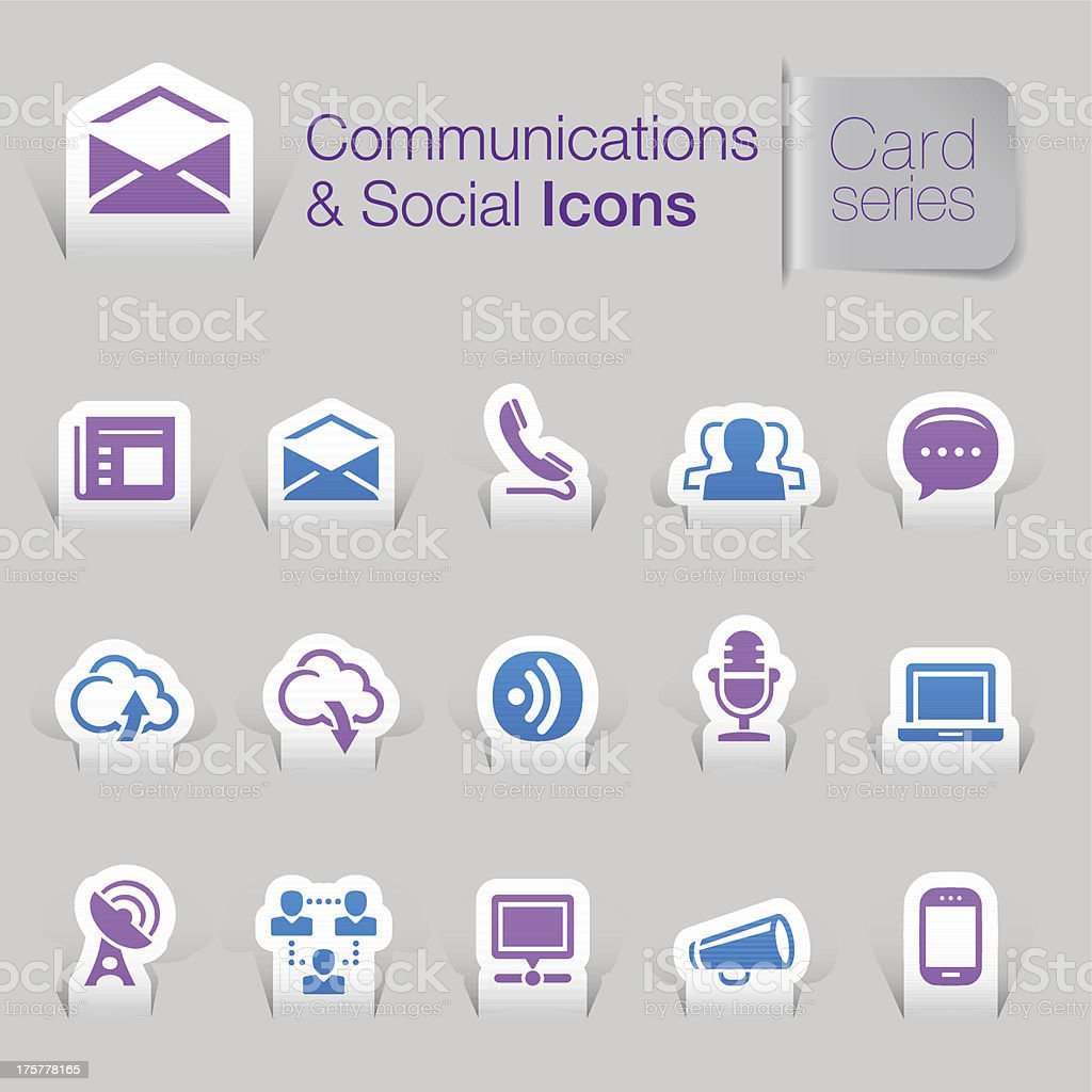 Set of fifteen communications and social media-related icons royalty-free stock vector art