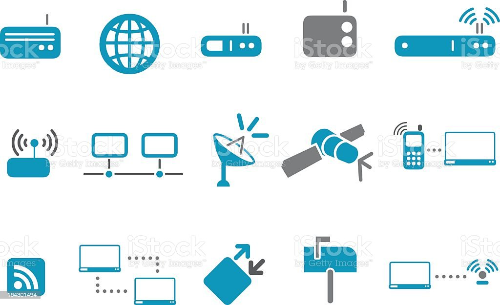 Set of fifteen communications icons in blue and gray  royalty-free stock vector art