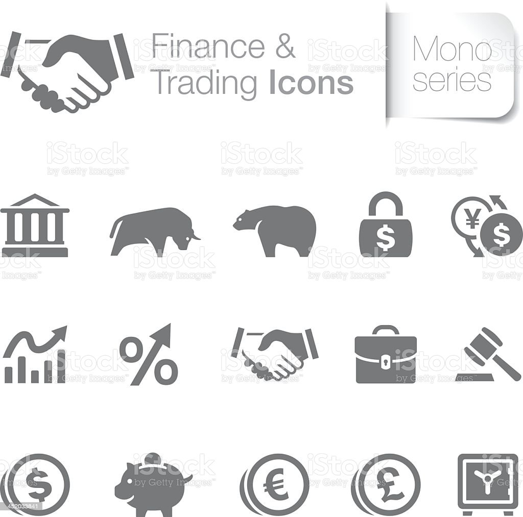 Set of fifteen gray finance and trading icons vector art illustration