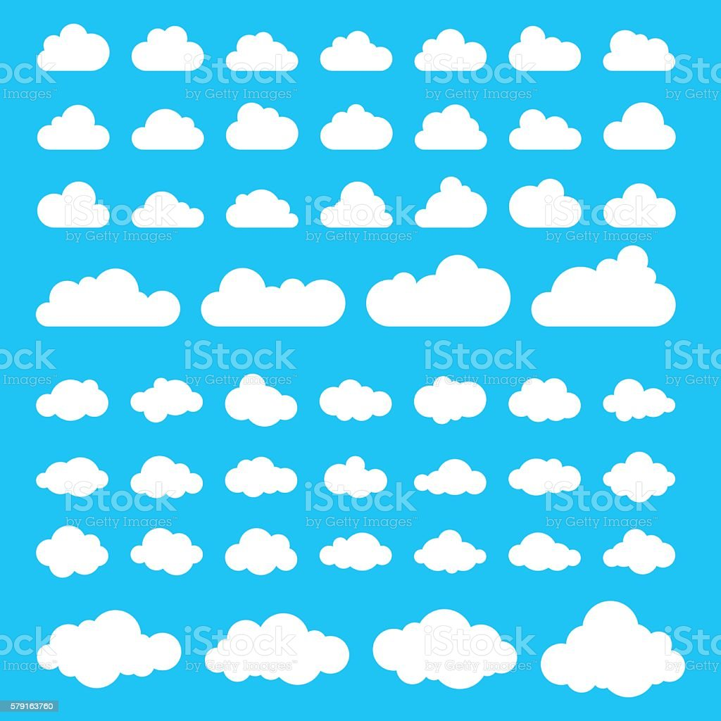Set of fifty clouds. vector art illustration