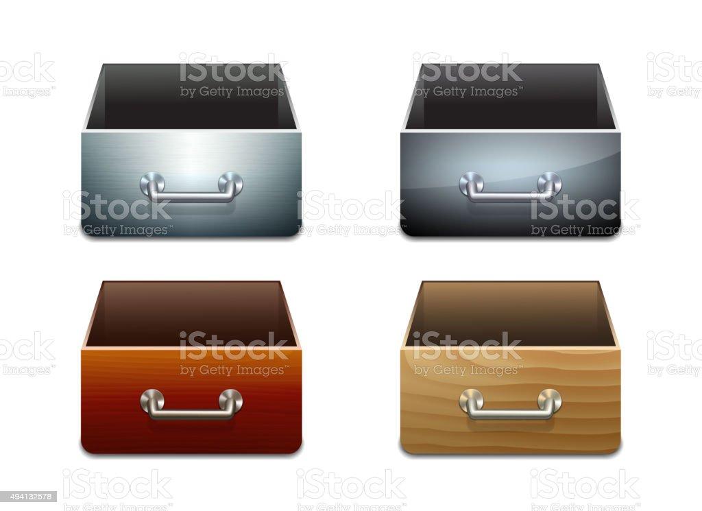 Set of File Cabinet for Documents vector art illustration