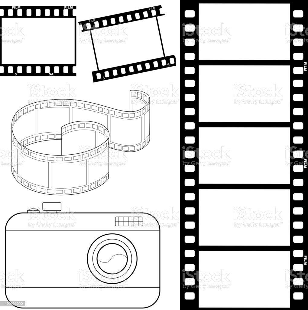 set of film strips and photocamera vector art illustration
