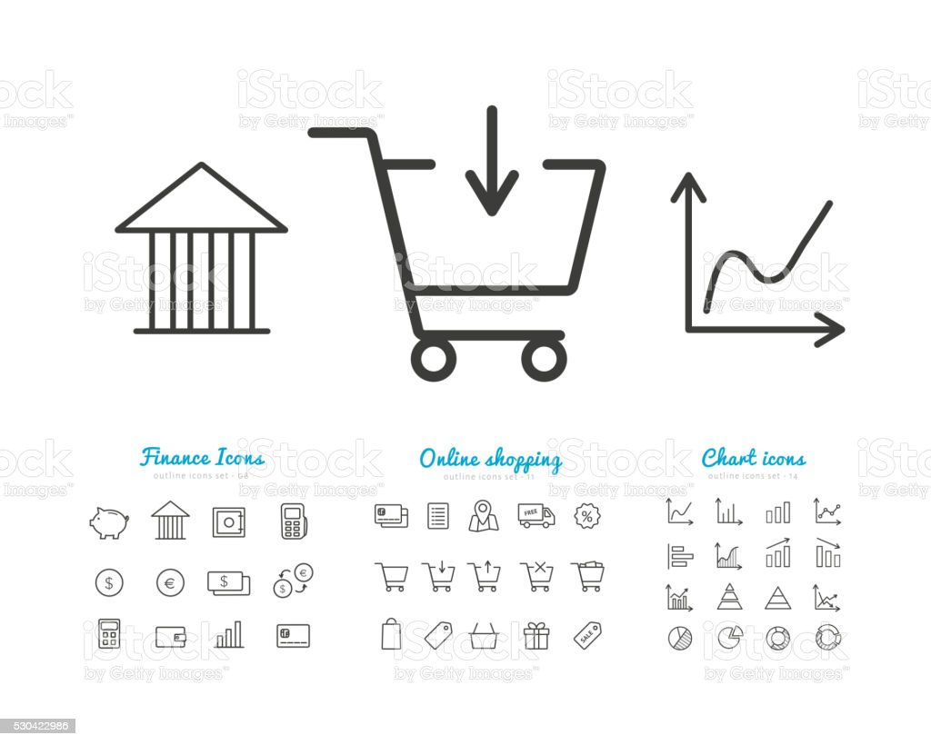 Set of finance and online payments icons, statistics, shopping vector art illustration