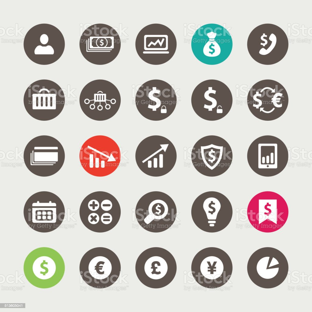 Set of financial and business icons vector art illustration