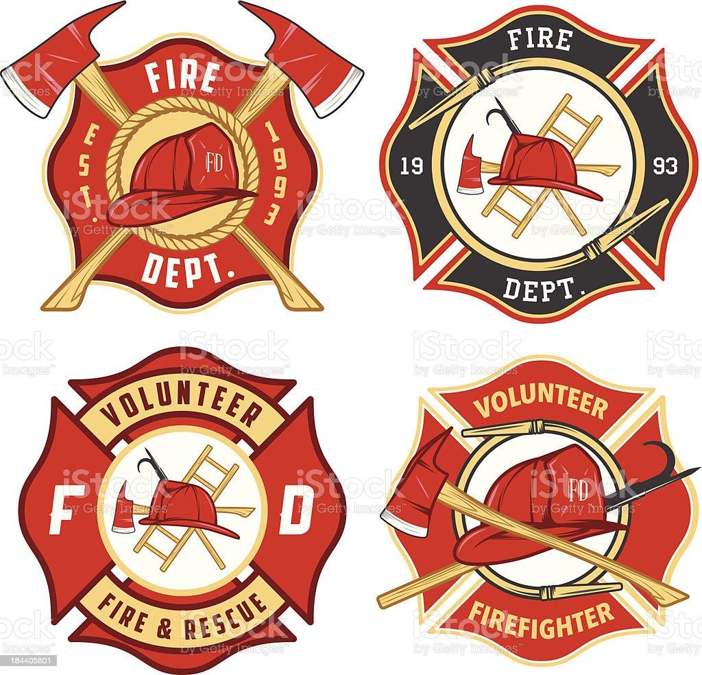 Set of fire department emblems and badges vector art illustration