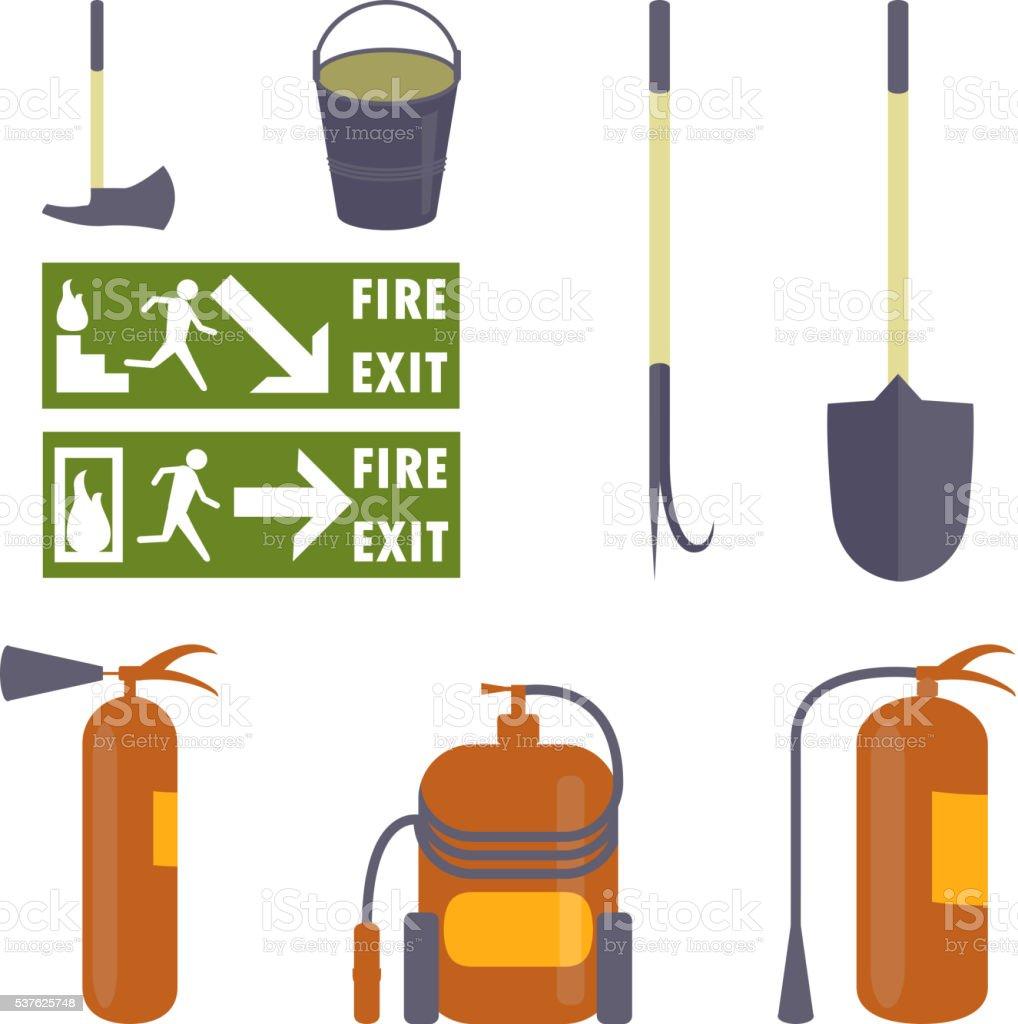 Set of fire equipment. vector art illustration