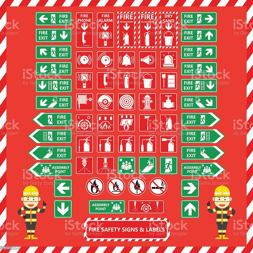 Set of Fire Safety Signs and Labels vector art illustration