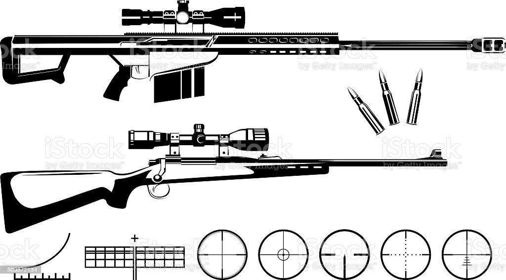 Set of firearms sniper rifles and targets vector art illustration