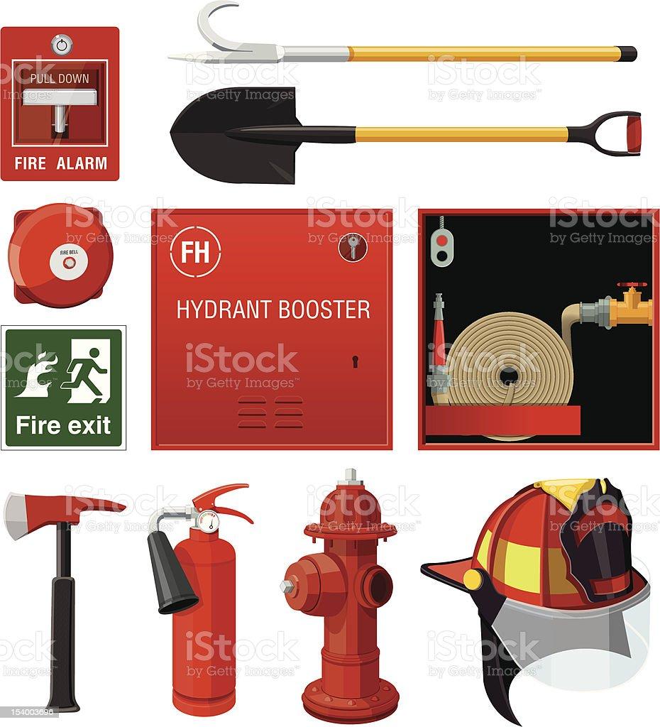 Set of firefighting equipment vector art illustration