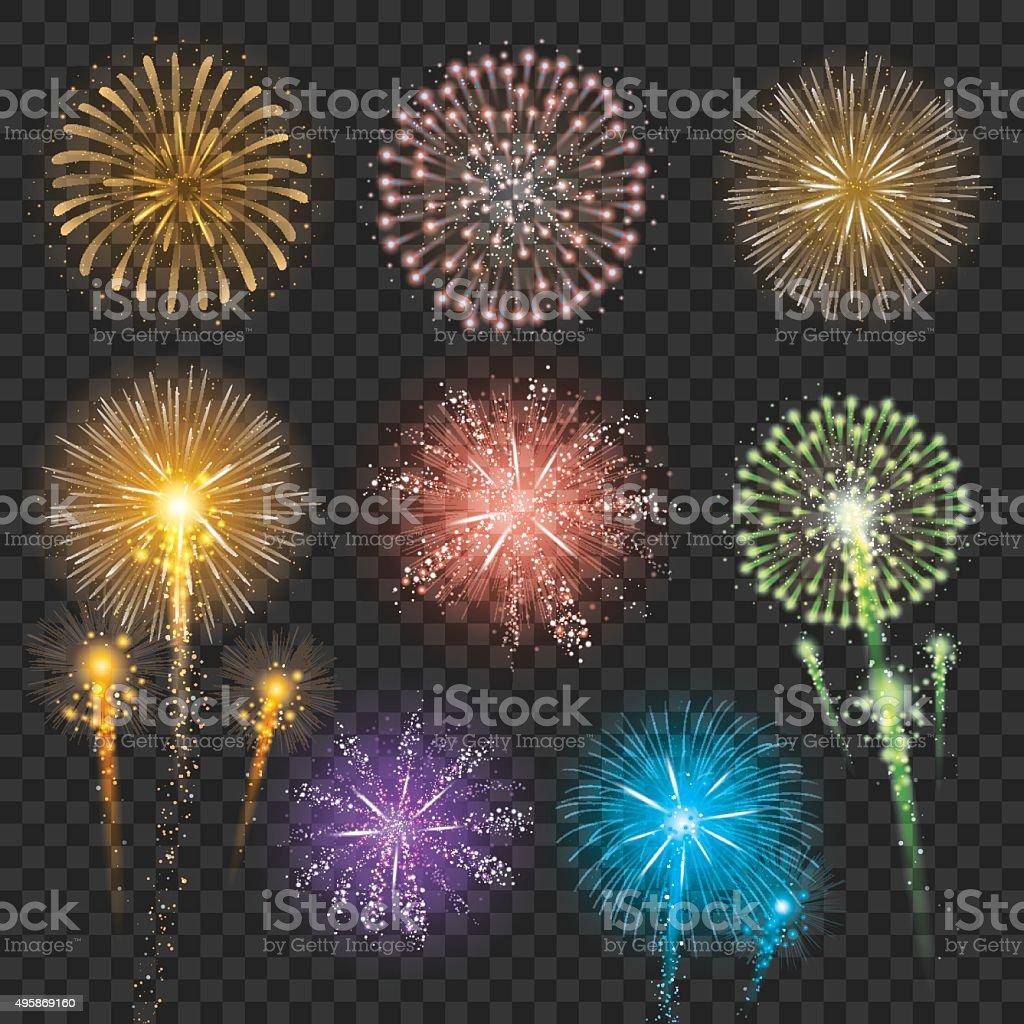Set of Firework Illustrations vector art illustration