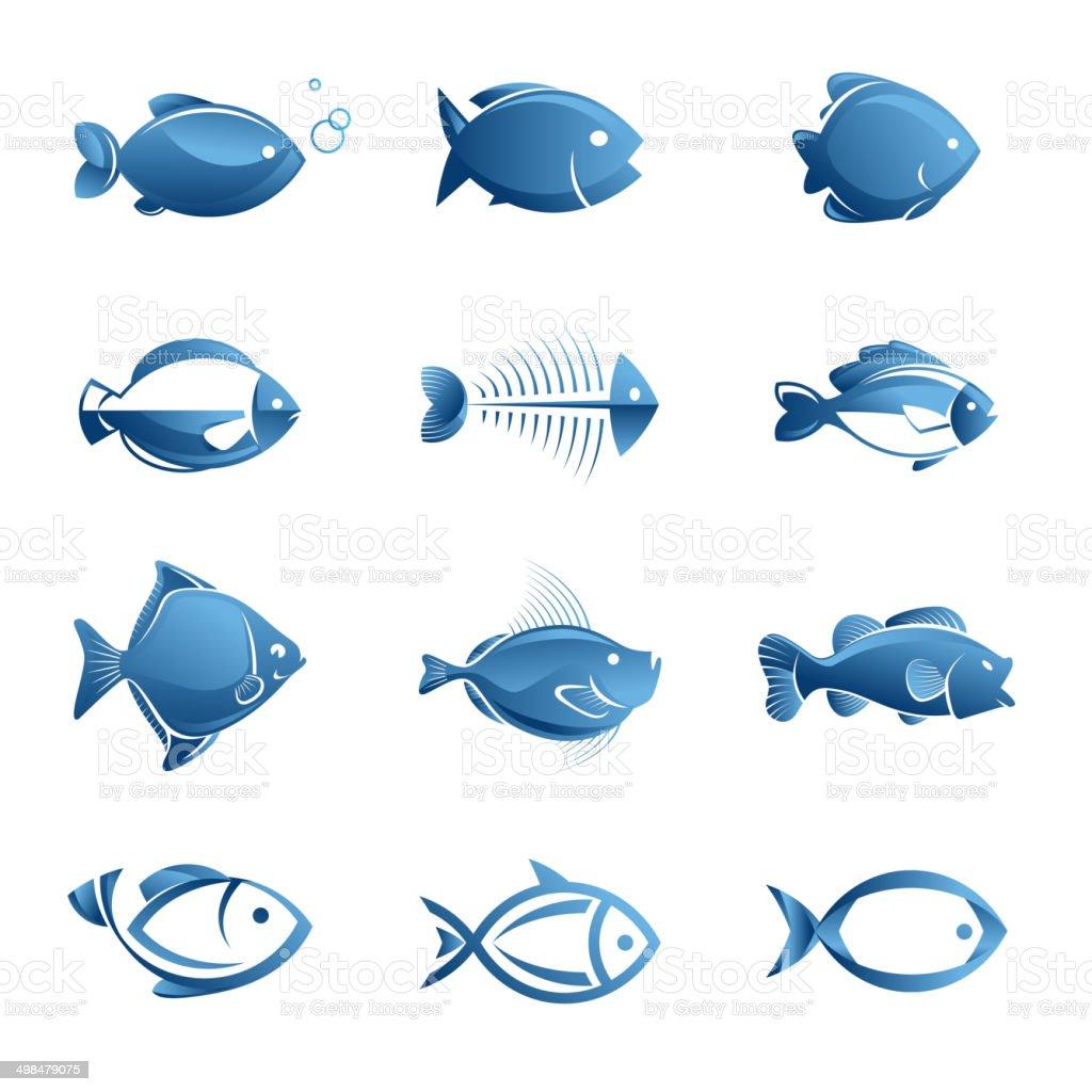 Conjunto de iconos de pescado illustracion libre de derechos libre de derechos