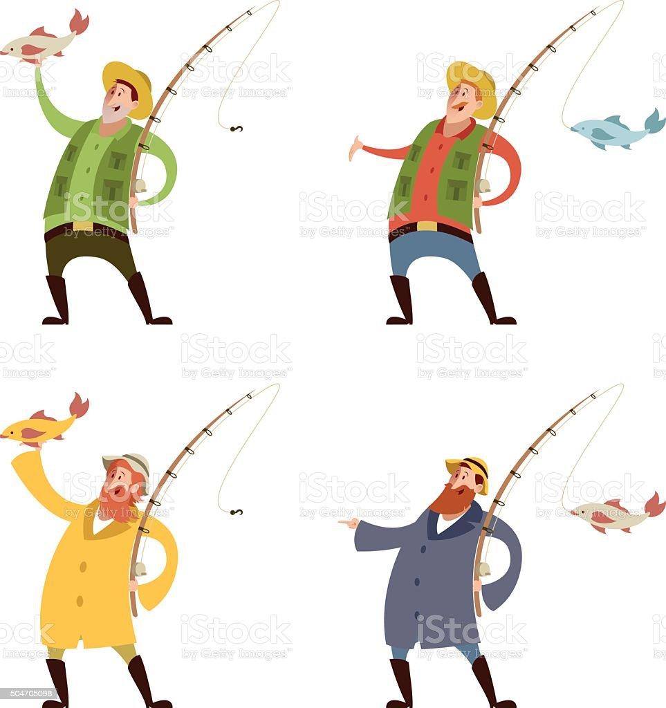 Set of fishermans vector art illustration