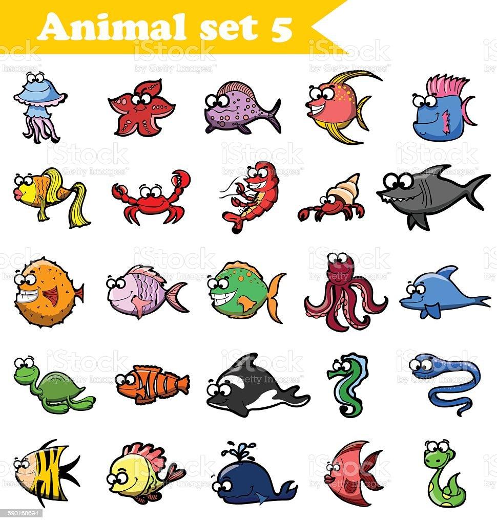 Set of fishes vector art illustration