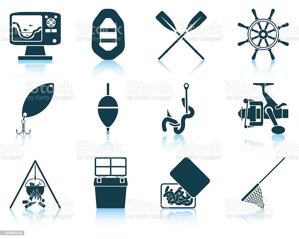 Set of fishing icons vector art illustration