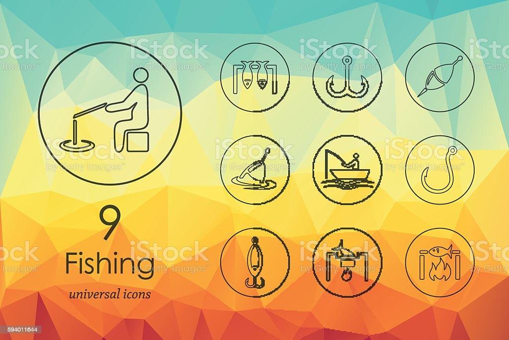 Set of fishing icons vector art illustration
