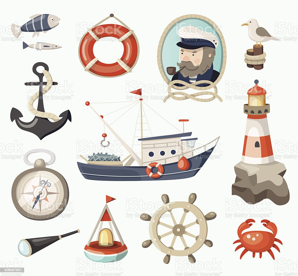 Set of fishing items vector art illustration