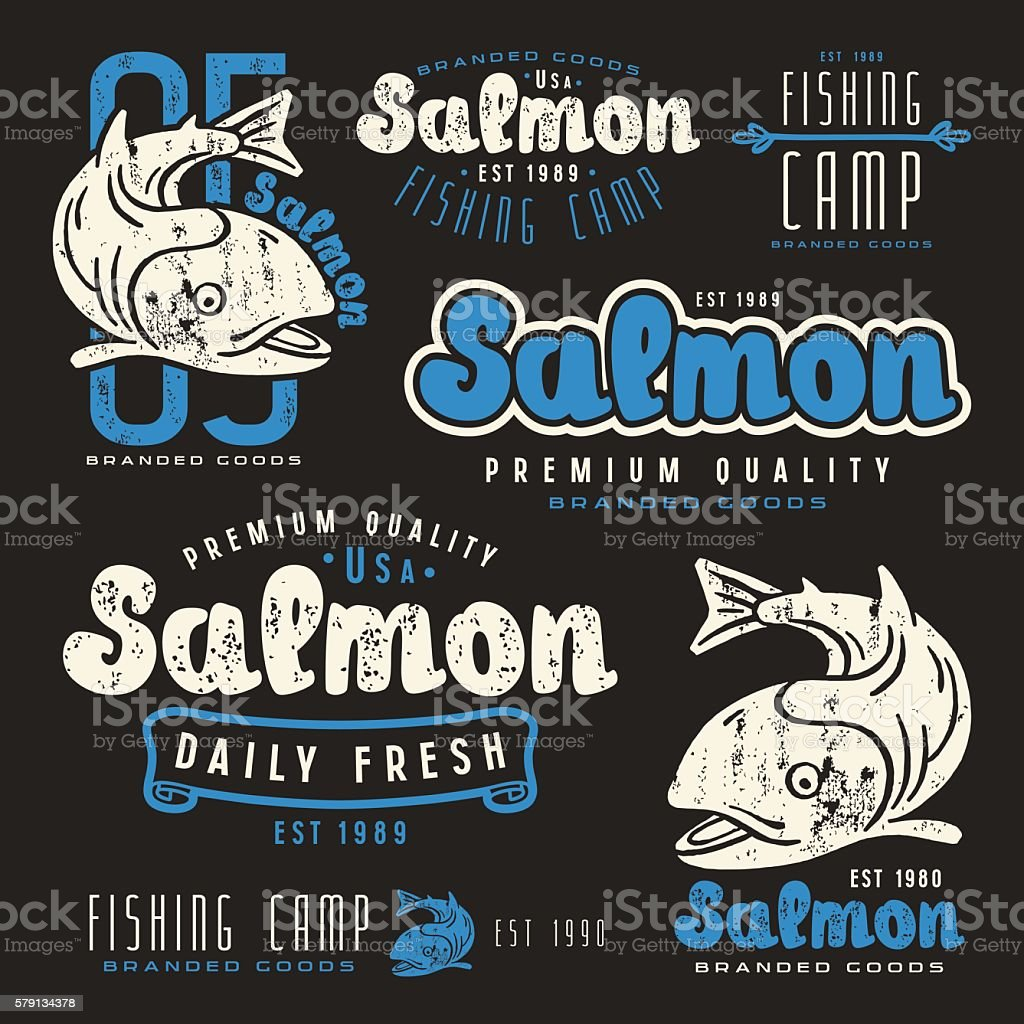Set of fishing labels in retro style vector art illustration