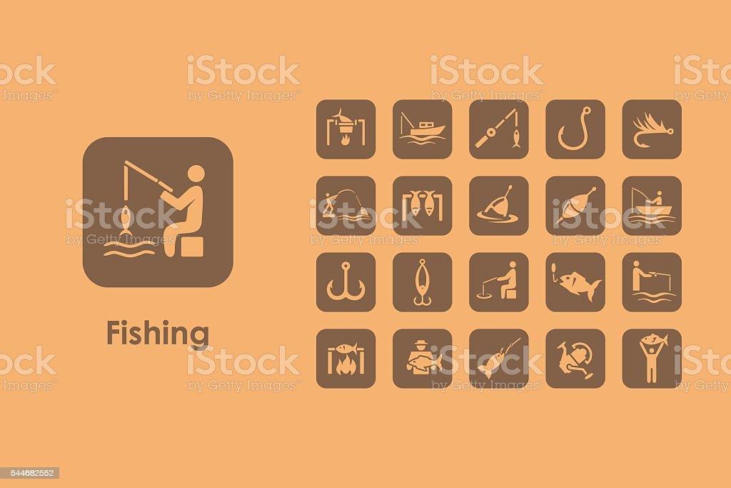 Set of fishing simple icons vector art illustration